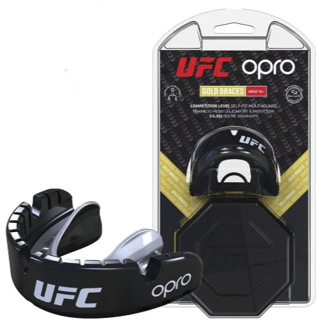 Капа OPRO Gold Braces UFC Hologram black